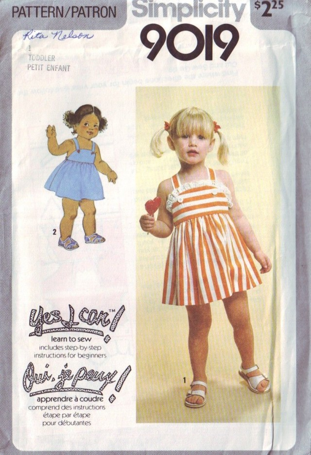 Simplicity Sewing Patterns Canada Simplicity 9019 Vintage 70s Childrens Sun Dress Pattern Toddler