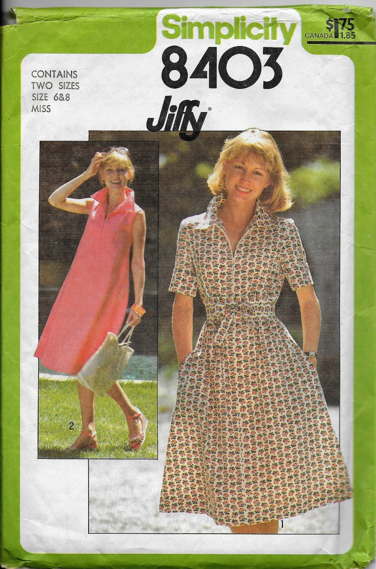 Simplicity Sewing Patterns Canada Vintage 70s Simplicity Sewing Pattern Jiffy Dress Zip Collar Tent