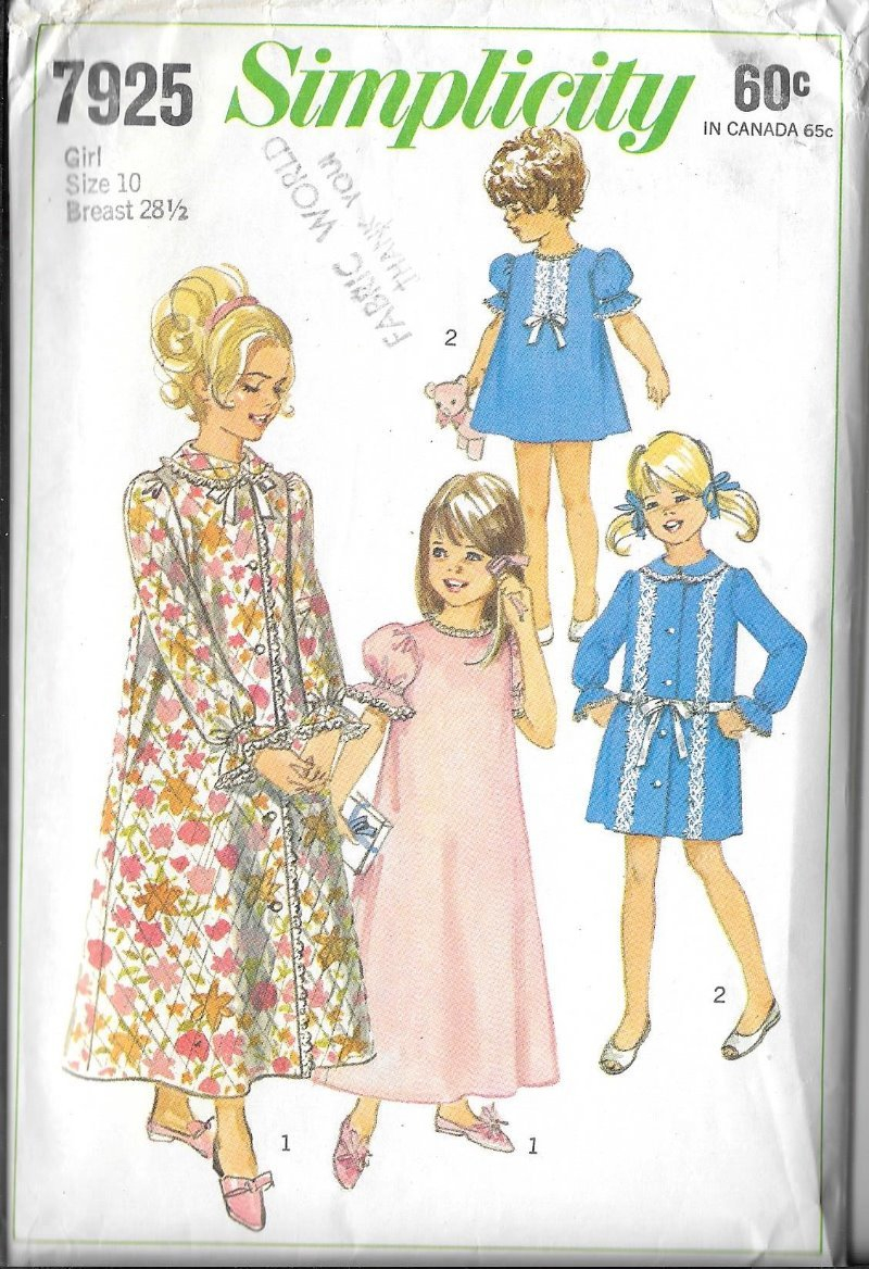 Simplicity Sewing Patterns Canada Vtg Girls Nightgown And Robe Simplicity 7925 Sewing Pattern Size 10