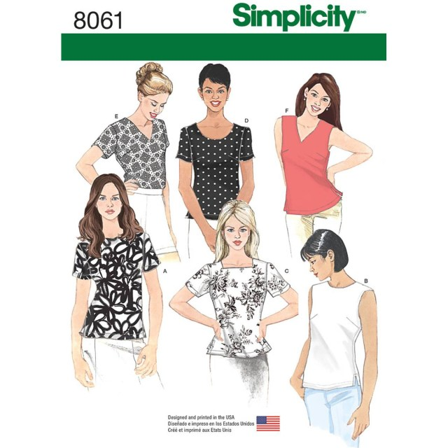 Simplicity Sewing Patterns Simplicity Womens Tops Sizes 8 To 16 Sewing Pattern 8061 Hobcraft