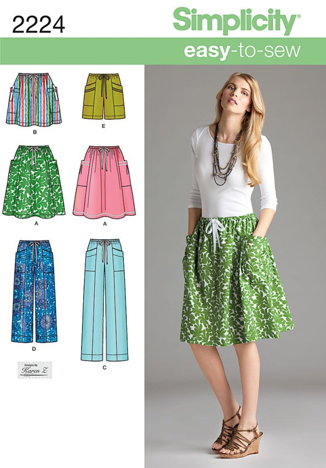 Skirt Sewing Patterns Simplicity 2224 Misses Skirt Pants Or Shorts