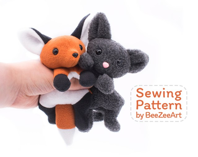Stuffed Animal Sewing Patterns Fox And Cat Stuffed Animal Sewing Pattern Digital Download