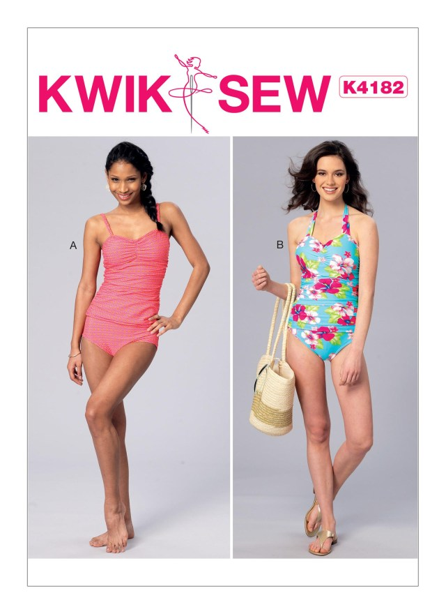 Swimsuit Sewing Patterns Kwik Sew 4182 Misses Ruched Tankini And One Piece Halter Swimsuit