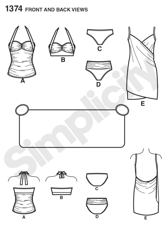 Swimsuit Sewing Patterns Simplicity 1374 Misses Two Piece Swimsuit Cover Up