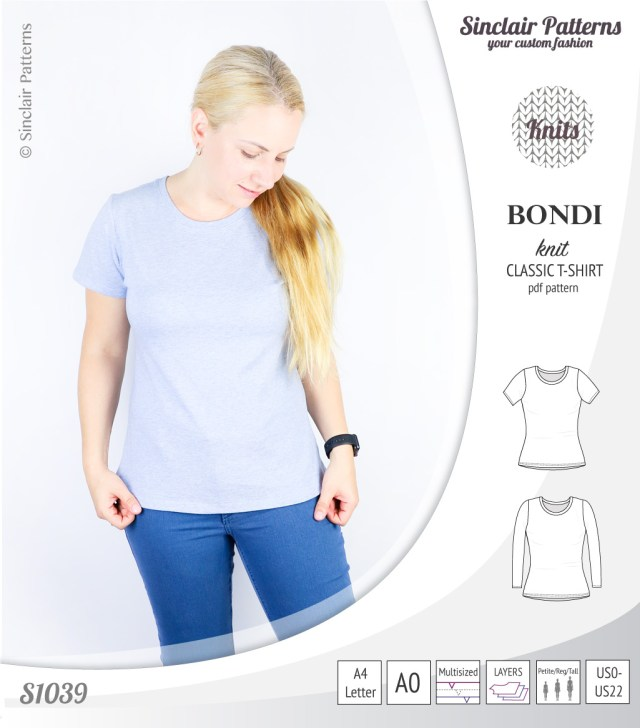 T Shirt Sewing Pattern Bondi Knit Classic Fitted T Shirt Pdf Sinclair Patterns