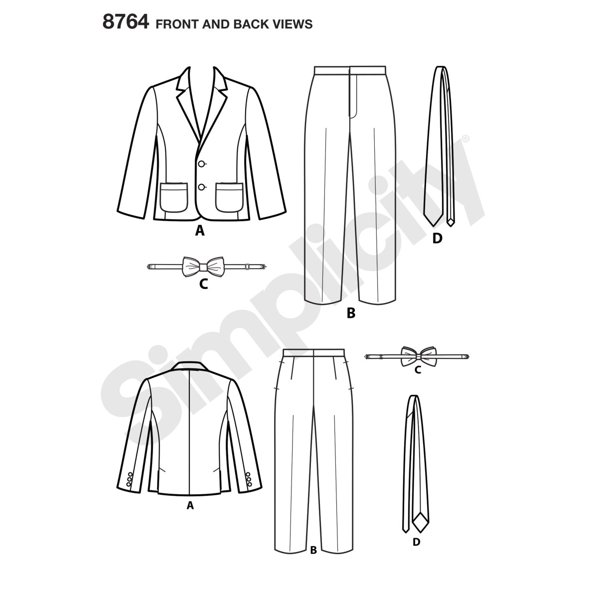 Tie Sewing Pattern Simplicity Sewing Pattern 8764 Boys Suit And Ties