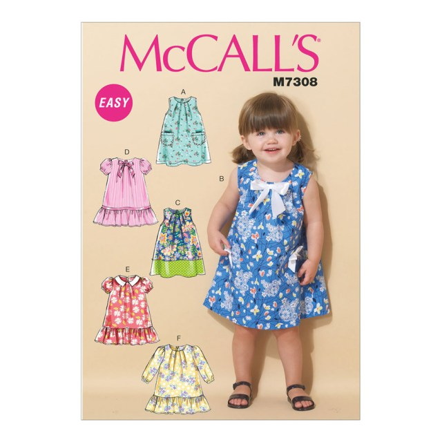 Toddler Sewing Patterns Mccalls Sewing Pattern M7308 Toddlers Tent Dresses All Sizes In