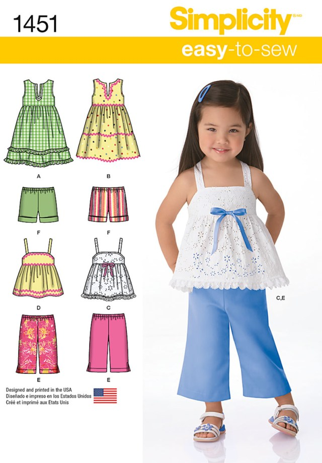 Toddler Sewing Patterns Simplicity 1451 Toddlers Dresses Top Cropped Pants And Shorts