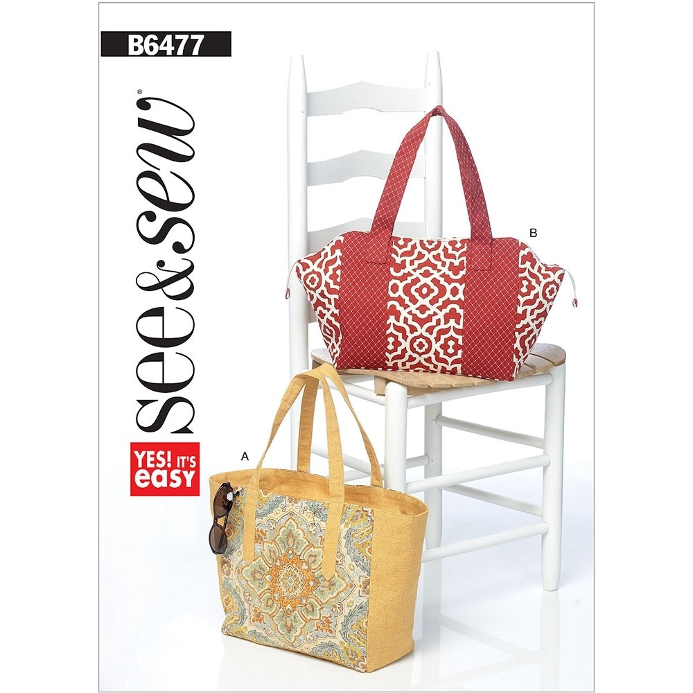 Tote Bag Sewing Pattern Lined Tote Bags With Zip And Contrast Variations Butterick Sewing