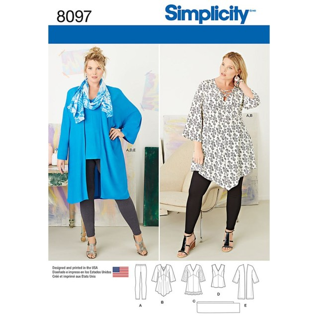 Tunic Sewing Pattern Plus Size Tunic Top Kimono And Knit Leggings Simplicity Sewing