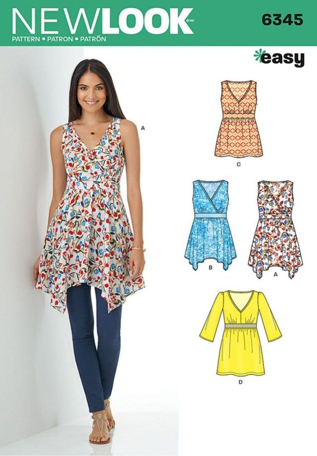 Tunic Sewing Patterns Misses V Neck Tops With Length Variations Sewing Patterns