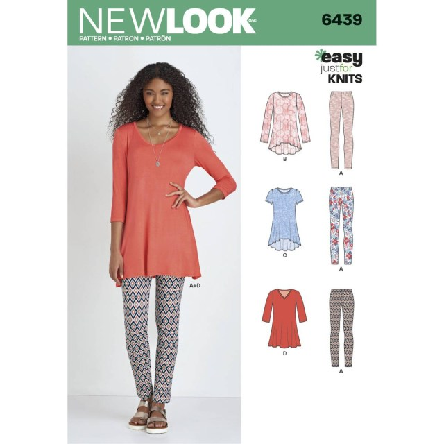 Tunic Sewing Patterns New Look Womens Knit Tunic And Trouser Sewing Pattern 6439 Hobcraft