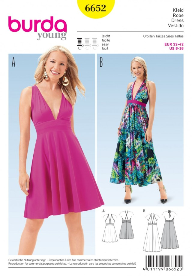 V Neck Dress Sewing Pattern Misses Summer V Neck Dress Burda Young Sewing Pattern 6652