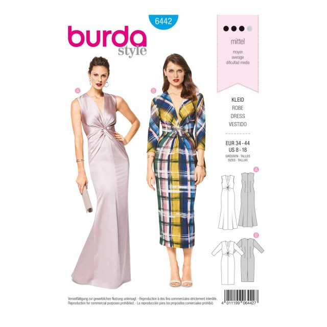V Neck Dress Sewing Pattern Womens V Neck Evening Dress 8 18 Burda Style Sewing Pattern
