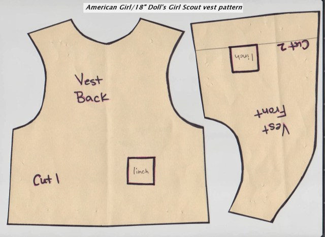 Vest Pattern Sewing Girl Scout Daisy Vest Pattern For American Girl Doll Little