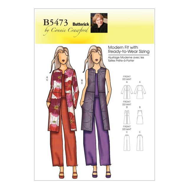 Vest Sewing Pattern Butterick B5473 Misseswomens Jacket Vest And Pants Pattern Size