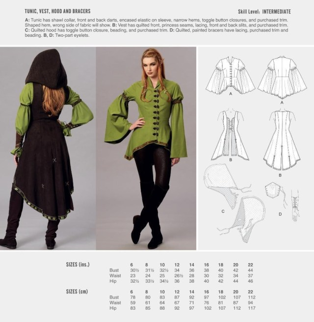 Vest Sewing Pattern Cosplay Mccall S Sewing Pattern Tunic Vest Hood Bracers Size 6
