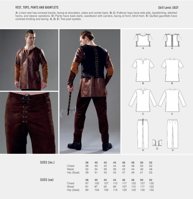 Vest Sewing Pattern Cosplay Mccall S Sewing Pattern Vest Top Pants Gauntlets Size 38