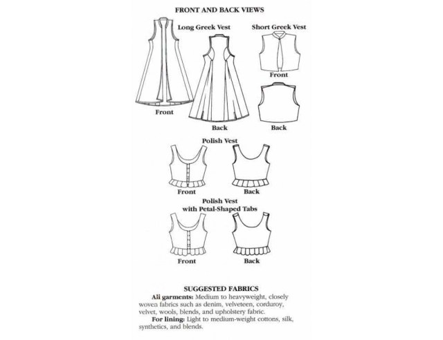 Vest Sewing Pattern Folkwear Pattern 126 Vests From Greece And Poland