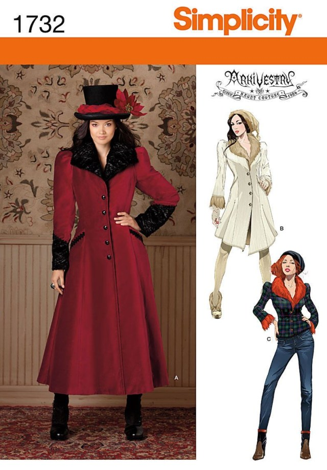 Victorian Sewing Patterns Simplicity 1732 Gothic Steampunk Victorian Coat Costume Sewing