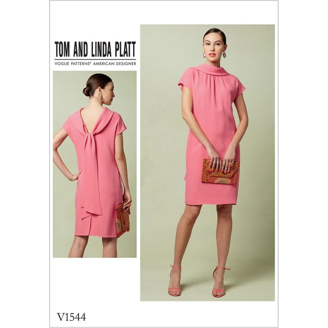 Vogue Sewing Patterns Misses Lined Shift Dress With Back Drop Collar And Tie Vogue Sewing