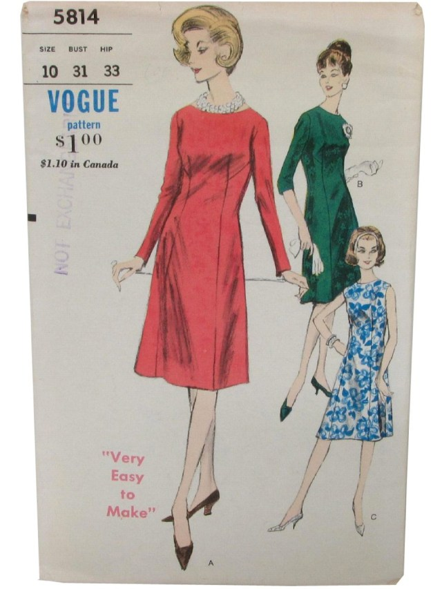 Vogue Sewing Patterns Vintage Vogue Pattern No 5814 1960s Sewing Pattern 60s Vogue