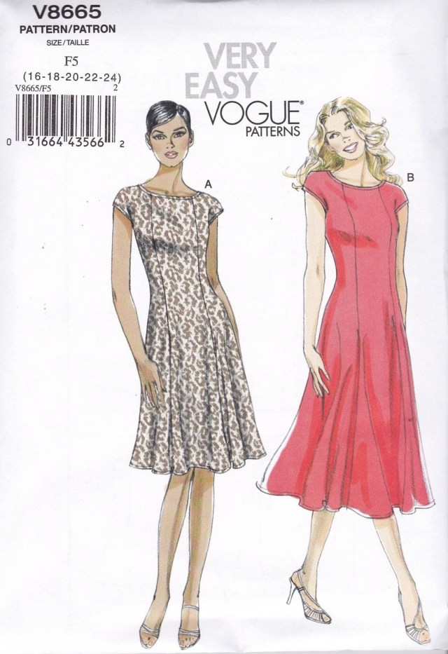 Vogue Sewing Patterns Vogue Sewing Pattern Misses Very Easy Flared Dress Size 8 24 V8665