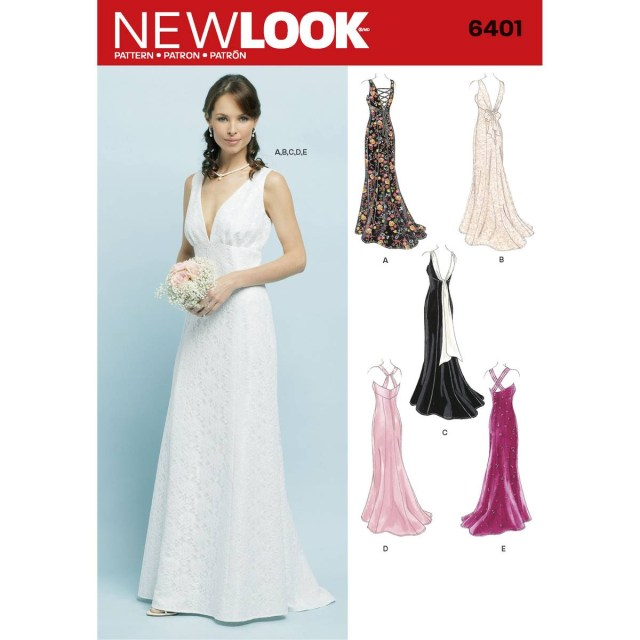 Wedding Dress Sewing Pattern New Look Special Occasion Dress Sewing Pattern 6401 Hobcraft