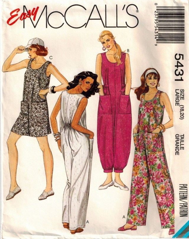 Womens Romper Sewing Pattern Vintage 90s Misses Jumpsuit Sewing Pattern Three Lengths Baggy