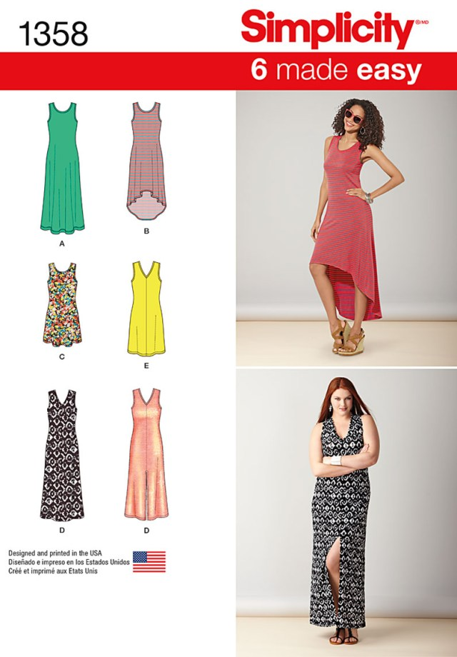 Womens Sewing Patterns Simplicity 1358 Misses Knit Dresses With Length And Neckline Variations