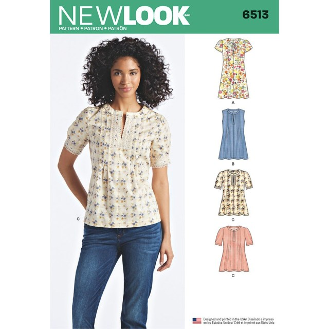 Womens Sewing Patterns Womens Dress Or Top With Sleeve And Trim Variations New Look Sewing