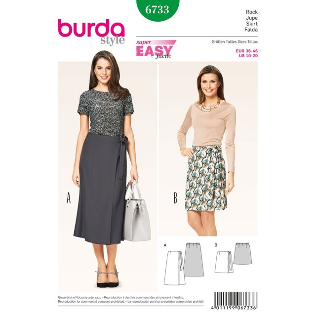 Wrap Skirt Sewing Pattern Misses Wrap Skirt Burda Sewing Pattern No 6733 Size 10 20 Sew