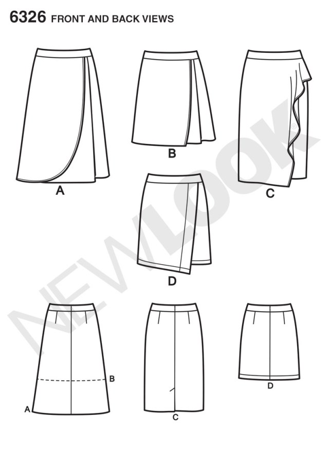 Wrap Skirt Sewing Pattern New Look 6326 Misses Mock Wrap Skirt With Front And Length Variations