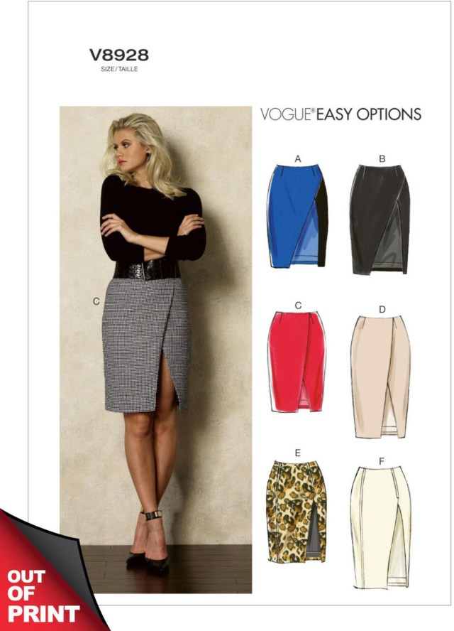 Wrap Skirt Sewing Pattern Vogue V8928 Misses Ultra Sexy Mock Wrap Skirt With Side Front Slit