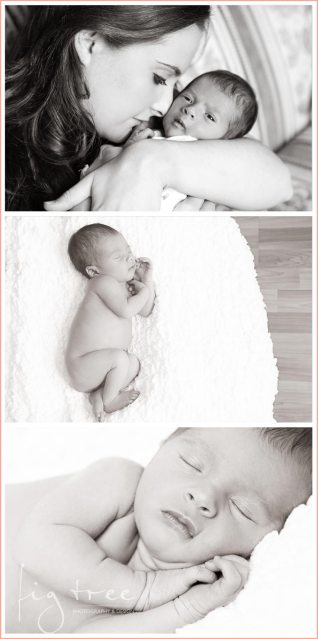 Mother and newborn family portrait - collage