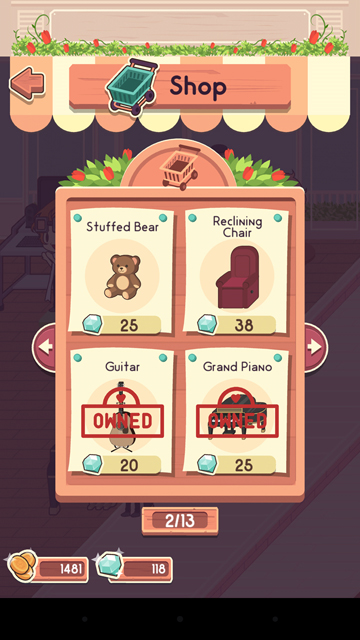 Buy items to decorate your cafe!