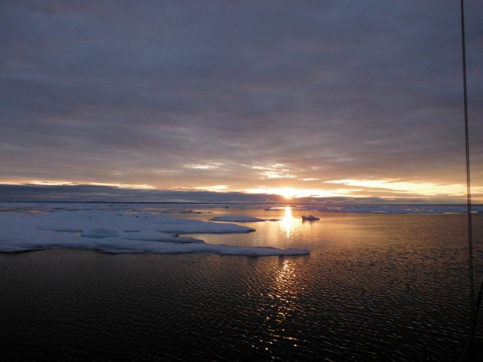 Ice and sunrise in Creswell Bay.