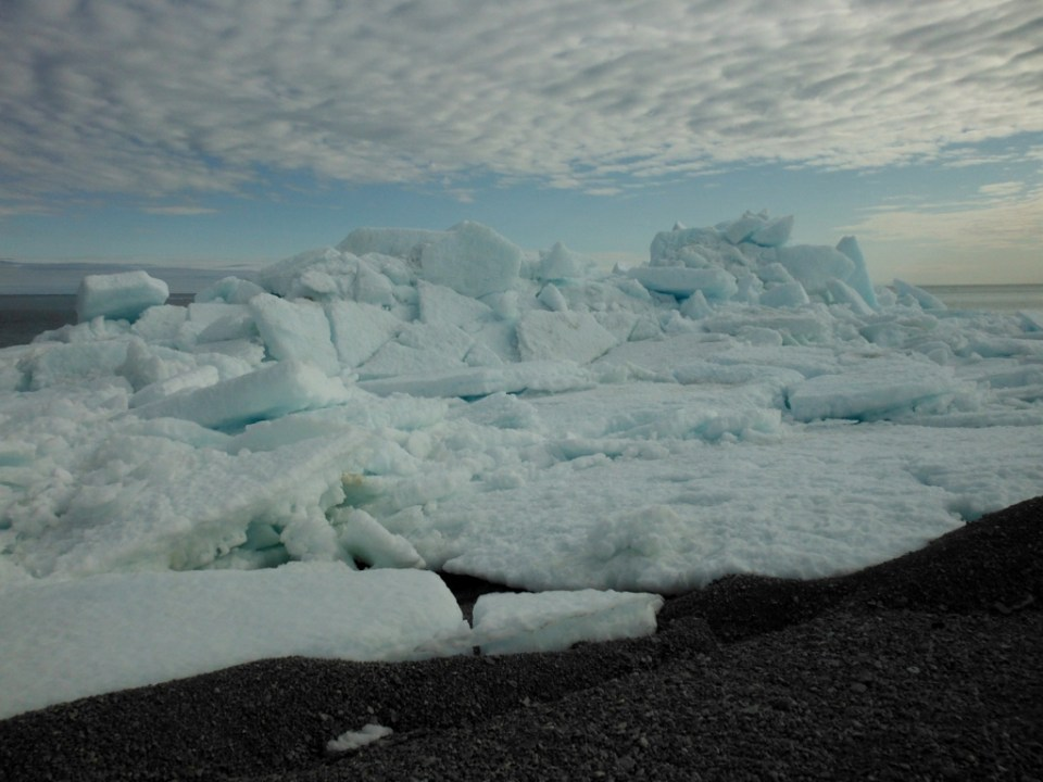 Ice piled on point of Fury Beach