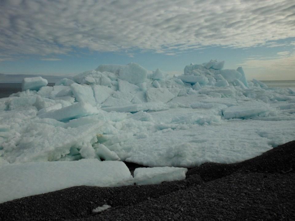 Ice piled on point of Fury Beach