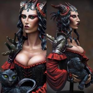 Portrait of a Young Tiefling Resin Bust painted by Raffaele Picca