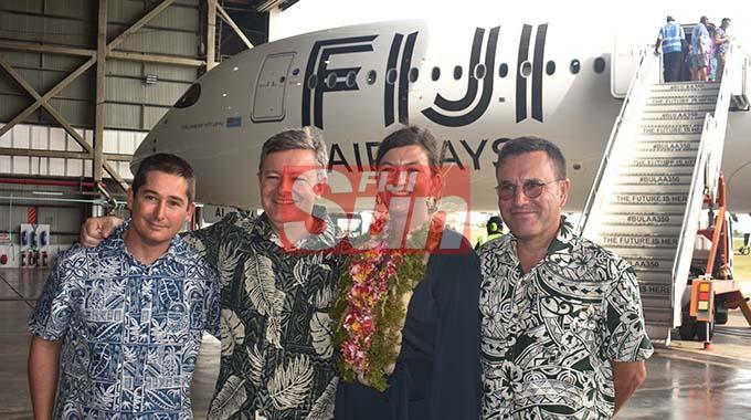 L-r: Airbus team, Thomas Quincy, Paul Tuck, Marie-Fredrique Romain, and Justin Dubon at the Fiji Airways A350 arrival ceremony. Photo: WAISEA NASOKIA