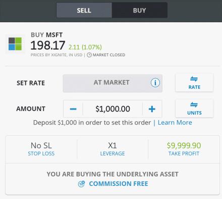 stock order screen eToro