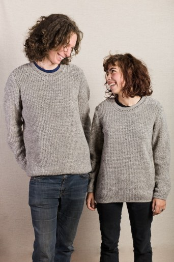 pull col rond pure laine vierge gris femme homme