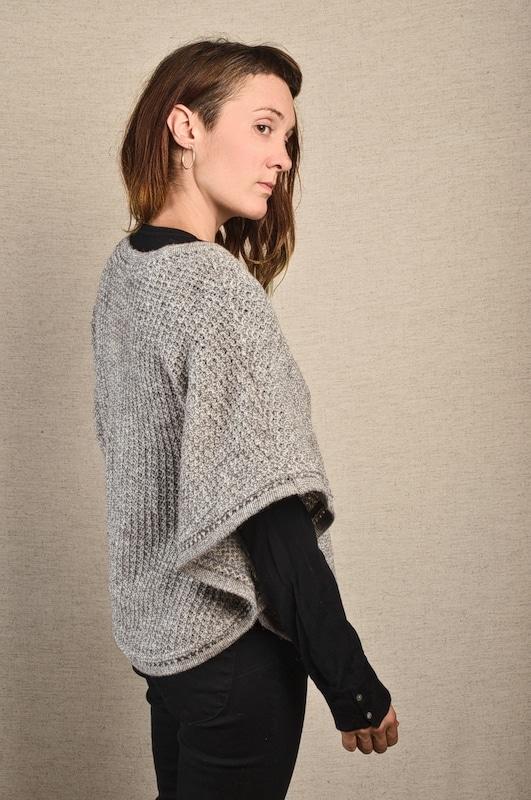 poncho pure laine vierge gris tricot aéré femme homme