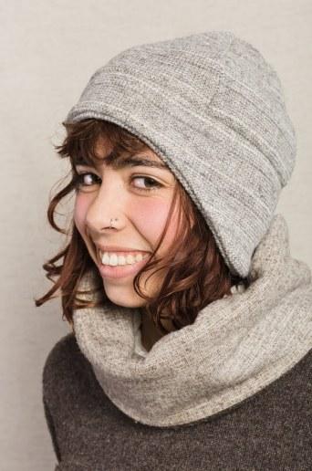 bonnet pure laine gris
