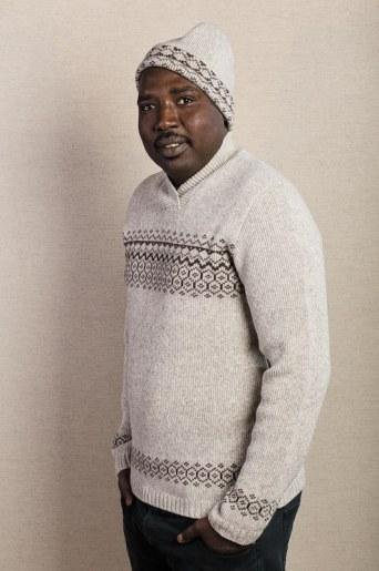 pull jacquard laine homme avec bonnet assorti