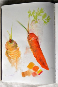 Carrot pastel and collage studies
