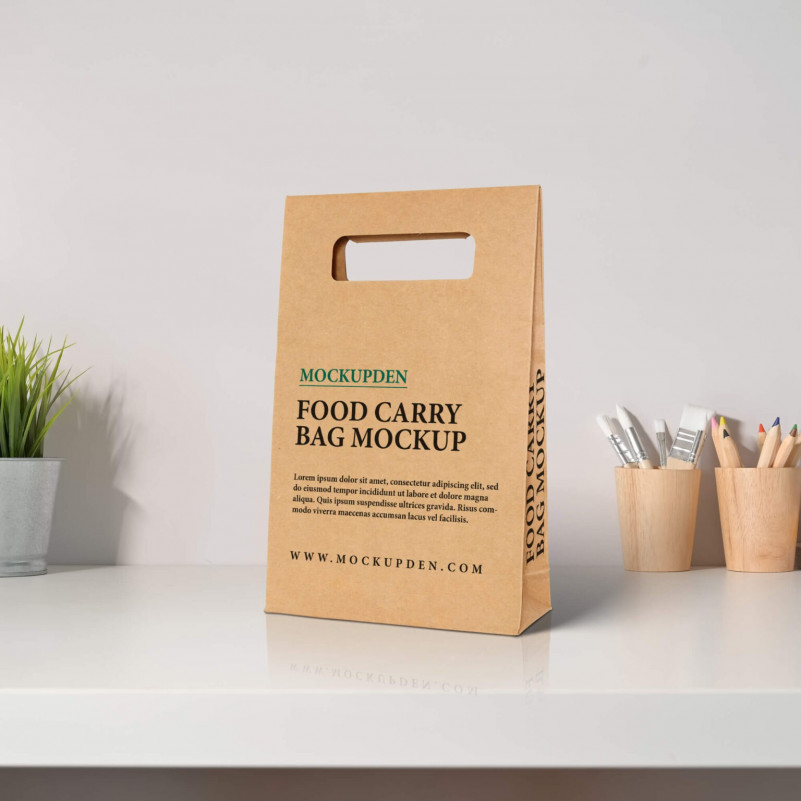 A set of 2 fully customizable free tote bag mockups in psd format. Free Food Carry Paper Bag Mockup Psd Template Amockup Com