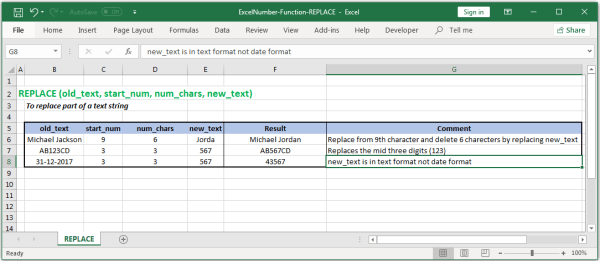 How replace part of Text in Excel? - ExcelNumber