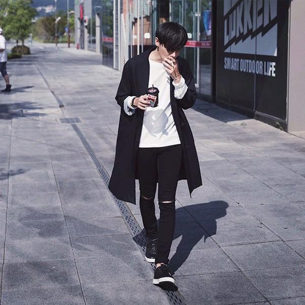 quần jean nam đen rách gối